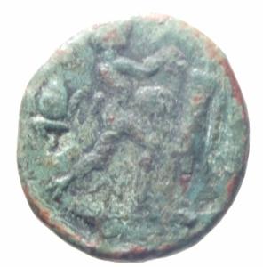 reverse: Mondo Greco. Macedonia. Antigone Gonata. 277-239 a.C. Ae. D/ Testa elmata di Atena. R\ Pan eregge un trofeo. SNG Cop.1206. Peso 3,90 gr. Diametro 18,93 mm. BB+. Patina Verde.