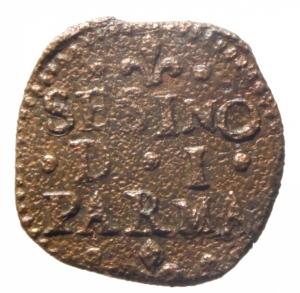 obverse: Zecche Italiane. Parma. Antonio Farnese. 1727-1731. Sesino. AE. MIR 1054. Peso gr. 1.02.qBB. RR.