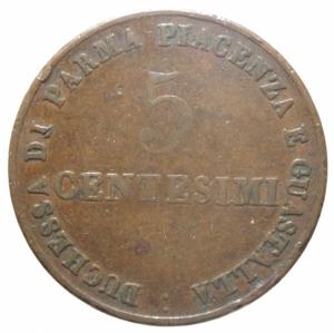 obverse: Zecche Italiane.Parma. Maria Luigia d Austria (1815-1847). 5 centesimi 1830. Pag. 15. Mont. 125. CU. mm. 23.00 RR. qBB.>>>