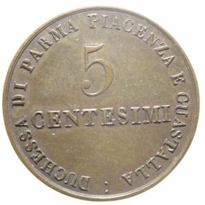 obverse: Zecche Italiane.Parma. Maria Luigia d Austria (1815-1847). 5 centesimi 1830.Peso 10,00 gr.Diametro 30,00 mm. CU.SPL.>>>