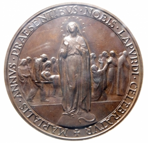 obverse: Medaglie. Vaticano. Giovanni XXIII. Anno Mariano. 1958. Ae. Peso 35,00 gr. Diametro 40,00 mm. FDC.