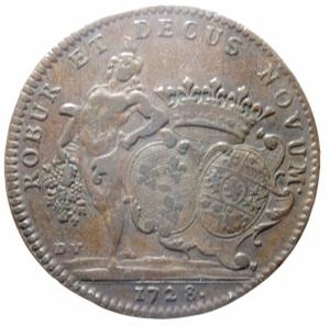 obverse: Medaglie. Francia. Luigi XV. Burgundia. Gettone 1728. COMITIA BURGUNDIAE ROBUR ET DECUS NOVUM. Peso 9,55 gr. Diametro 31,00 mm. SPL.