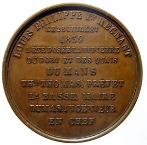 reverse: Medaglie Estere. Francia. Luigi Filippo. 1830-1848. Medaglia 1839. Posa della prima pietra del porto di Mans. Diametro 41,00 mm. FDC. ex Kunst und Munzen A.G. Lugano.