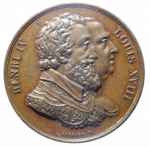 obverse: Medaglie. Francia. Luigi XVIII e Enrico IV. Raccolta fondi per la costruzione della statua equestre dedicata ad Enrico IV. Peso 20,90 gr. Diametro 31,00 mm. SPL.