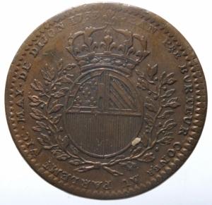 obverse: Medaglie. Francia. Luigi XV. Gettone. Municipalità di Digione 1733. Cu. Peso 9,50 gr. Diametro 30,00 mm. BB+.