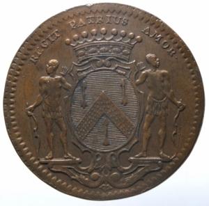 reverse: Medaglie. Francia. Luigi XV. Gettone. Municipalità di Digione 1733. Cu. Peso 9,50 gr. Diametro 30,00 mm. BB+.