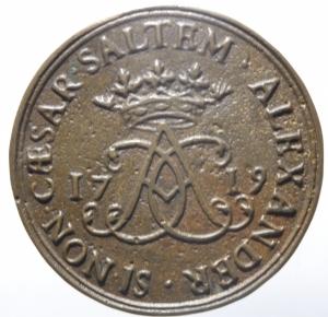 reverse: Medaglie. Francia. Luigi XV. 1715-1774. Philippe Alexandre Emmanuel di Croy-Solre. 1676-1723. Gettone. 1719. Ae. Dugn. 4880. De Coster 714. Peso 12,45 gr. Diametro 32,00 mm. SPL.