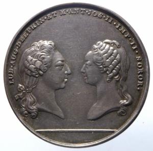 obverse: Medaglie.Francia.Luigi XVI e Maria Antonietta 1770.SACRUM AETERNAE CONCORDIAE PIGNUS.Peso 10,70 gr.Ag.SPL.