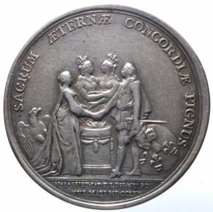 reverse: Medaglie.Francia.Luigi XVI e Maria Antonietta 1770.SACRUM AETERNAE CONCORDIAE PIGNUS.Peso 10,70 gr.Ag.SPL.