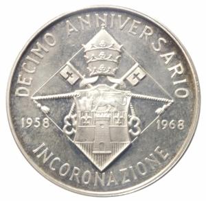 reverse: Medaglie.Giovanni XXIII.1958-1968 Anniversario dell  Incoronazione .Ar.Peso17,25 gr.SPL.^^^