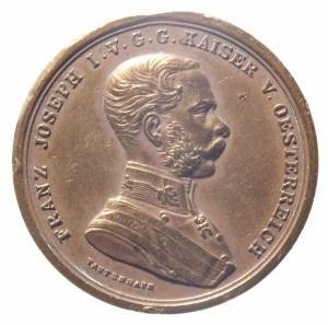 obverse: Medaglie.Impero Austro Ungarico.Francesco Giuseppe. DER TAFFERKEIT in corona d  alloro.Cu.Peso 14,70.BB+.Rame Rosso.^^^