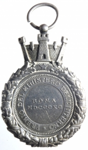 reverse: Medaglie.Roma 1890.Ministero dell  Interno.Premio.PRO PATRIA ET REGE.Peso 35,30 gr.qSPL.^^^
