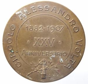 reverse: Medaglie.Circolo Alessandro Volta.XXV anniversario dalla morte.qSPL.^^^
