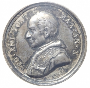 obverse: Medaglie.Leone XIII.Ar.ANNO X.1888.Croce sulle nubi.Peso 9,20 gr.SPL.^^^