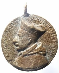 obverse: Medaglie.Medaglia da classificare con alto prelato e leone su cippo.MB.^^^