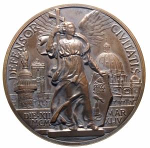 reverse: Medaglie. Roma. Pio XII. 1939-1958. Medaglia 12 Marzo 1944.DEFENSOR CIVITATIS . Opus Mistruzzi. Peso gr. 35,20. Diametro mm. 44. FDC.>>>