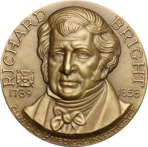 Richard Bright (1789-1858), medico inglese.. Medaglia 1971. Emessa dalla Medallic Art co. di New York