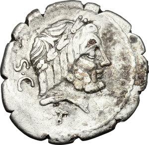 L. Volteius L.f. Strabo.. Fourrée Denarius serratus, 81 BC