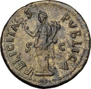 reverse: Domitian as Caesar (69-81).. AE As (or Dupondius), 77-78 AD