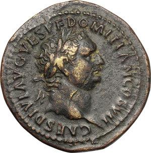 obverse: Domitian as Caesar (69-81).. AE Dupondius