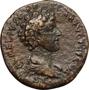reverse: Antoninus Pius (138-161) with Marcus Aurelius Caesar.. AE Sestertius, Rome mint, 140-144 AD
