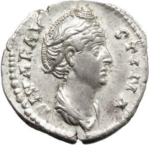 obverse: Faustina I, wife of Antoninus Pius (died 141 AD).. AR Denarius, after 141 AD