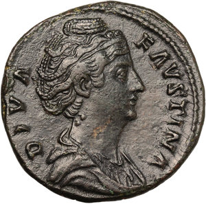 obverse: Faustina I, wife of Antoninus Pius (died 141 AD).. AE Sestertius, c. 141-146 AD
