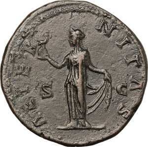 reverse: Faustina I, wife of Antoninus Pius (died 141 AD).. AE Sestertius, c. 141-146 AD