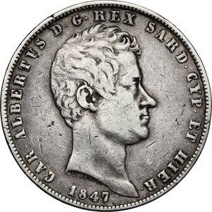 Carlo Alberto (1831-1849).. 5 lire 1847 Genova