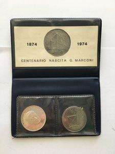 obverse: Astuccio con 100 lire e 100 lire PROVA argento Guglielmo Marconi, 1974