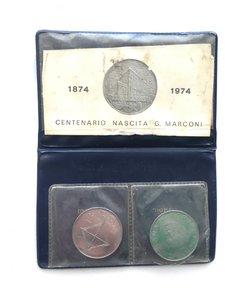 obverse: Astuccio con 100 lire e 100 lire PROVA acmonital Guglielmo Marconi, 1974