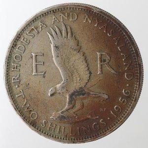 reverse: Monete Estere. Rhodesia And Nyasaland. 2 Shilllings 1956. Ae-Ni. qBB.