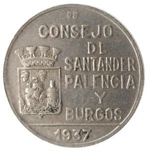 reverse: Monete Estere. Spagna. Santander, Palencia & Burgos. Peseta 1937. Ae-Ni. BB.
