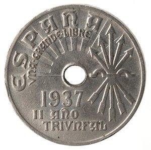 obverse: Monete Estere. Spagna. 25 Centesimi 1937. Ae-Ni. qSPL.