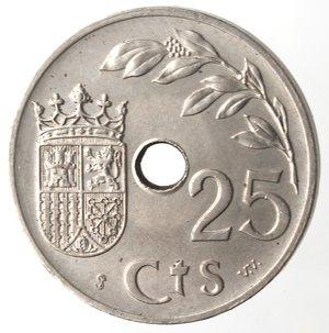 reverse: Monete Estere. Spagna. 25 Centesimi 1937. Ae-Ni. qSPL.