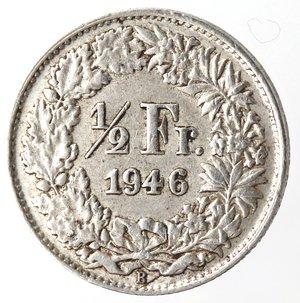 reverse: Monete Estere. Svizzera. Mezzo Franco 1946. Ag 835. BB.