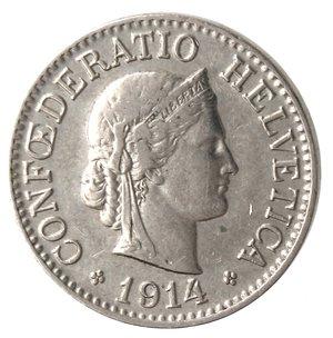 obverse: Monete Estere. Svizzera. 10 Rappen 1914. Ae-Ni. BB+.