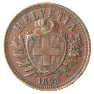 obverse: Monete Estere. Svizzera. 2 Rappen 1893. Ae. BB.