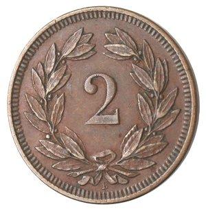 reverse: Monete Estere. Svizzera. 2 Rappen 1893. Ae. BB.
