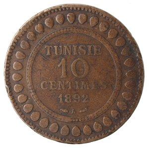 obverse: Monete Estere. Tunisia. Ali Bey. 10 Centimes 1892. Ae. qBB. Colpi al bordo.