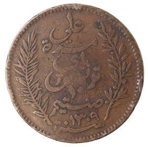 reverse: Monete Estere. Tunisia. Ali Bey. 10 Centimes 1892. Ae. qBB. Colpi al bordo.
