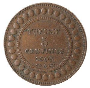 obverse: Monete Estere. Tunisia. Muhammad Al-Hadi Bey. 5 Centimes 1903. Ae. BB.