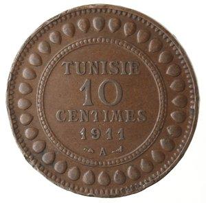 obverse: Monete Estere. Tunisia. Muhammad Al-Nasir. 10 Centimes 1911. Ae. BB. Colpi al bordo.
