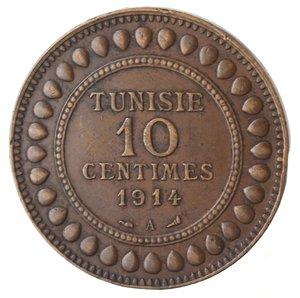 obverse: Monete Estere. Tunisia. Muhammad Al-Nasir. 10 Centimes 1914. Ae. BB.