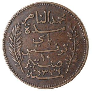 reverse: Monete Estere. Tunisia. Muhammad Al-Nasir. 10 Centimes 1914. Ae. BB.
