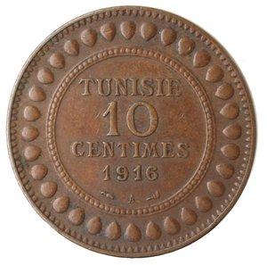 obverse: Monete Estere. Tunisia. Muhammad Al-Nasir. 10 Centimes 1916. Ae. BB.