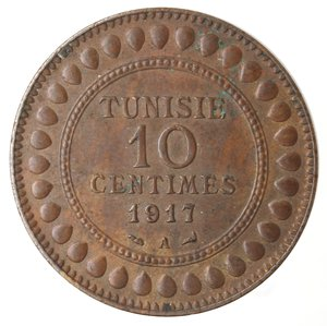 obverse: Monete Estere. Tunisia. Muhammad Al-Nasir. 10 Centimes 1917. Ae. BB.