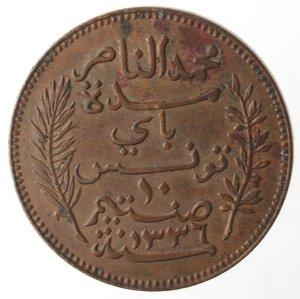 reverse: Monete Estere. Tunisia. Muhammad Al-Nasir. 10 Centimes 1917. Ae. BB.