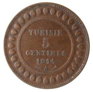 obverse: Monete Estere. Tunisia. Muhammad Al-Nasir. 5 Centimes 1914. Ae. BB.