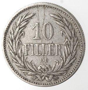 reverse: Monete Estere. Ungheria. Francesco  Giuseppe I. 10 Filler 1893. Ni. MB. Graffi.